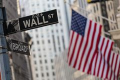 Wall street sign in New York with American flags and New York Stock Exchange background. Wall street sign in New York City with American flags and New York Stock Photography