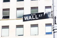 Wall Street Sign, , New York City, USA royalty free stock image