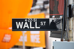 Wall street sign, New York Stock Photos