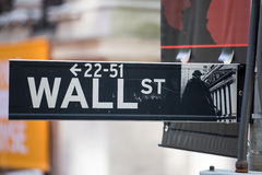 Wall street sign, New York. Wall street sign in financial district, New York Royalty Free Stock Photography