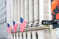 Wall street. Sign in New York with New York Stock Exchange background Royalty Free Stock Photo