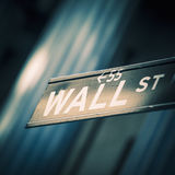 Wall street sign in New York. Special photographic processing Royalty Free Stock Photos