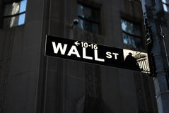 Wall Street sign at night Stock Photos