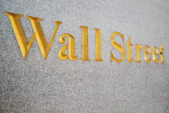 Wall Street sign painted in gold Stock Photo