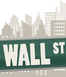 Wall street sign plate. On green over skyscrapers Royalty Free Stock Photo