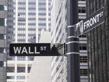 Wall Street sign. Wall St. street sign with tall buildings in the background Royalty Free Stock Images