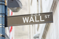 Wall Street sign with street lamp near Stock Exchange, New York Stock Photography