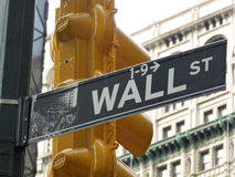Wall street sign. United States New York Wall street sign royalty free stock photo
