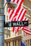 Wall Street signent dedans New York City Image libre de droits