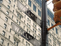 Wall street signs in New York city close-up view Royalty Free Stock Photography