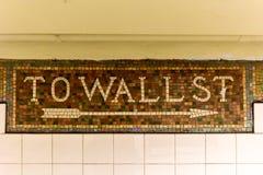 Wall Street stacja metru, Miasto Nowy Jork zdjęcie stock