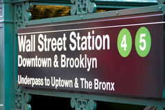 Wall Street Stacja Metru, Nowy Jork Zdjęcia Stock