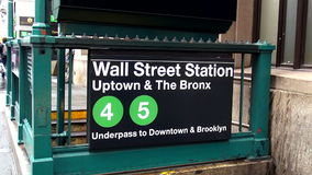 Wall Street Station Subway Exit USA cityscapes stock video