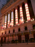 Wall Street Stock Exchange exceptionally decorated with US Flag Stock Images