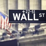 Wall street street sign with the New York Stock Exchange on the Royalty Free Stock Images