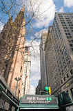 Wall Street - Subway entrance in Lower Manhattan, New York City Stock Photos