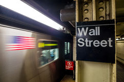 Wall street subway sign royalty free stock photography
