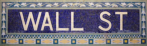Wall street subway sign tile pattern Royalty Free Stock Photos