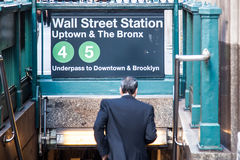 Wall street subway station Royalty Free Stock Photo