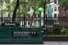 Wall Street Subway Station Entrance royalty free stock photo