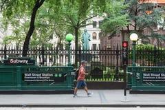 Wall Street Subway Station Entrance stock image
