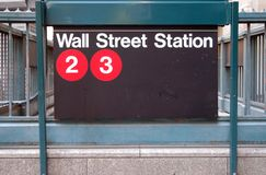 Wall Street Subway Station. In lower Manhattan, financial district, New York City Stock Photo