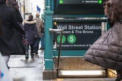 Wall street subway station in New York City. Royalty Free Stock Photo