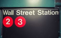 Wall street subway station in New York City. USA royalty free stock photo