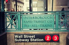 Wall street subway station in New York City. USA royalty free stock photography