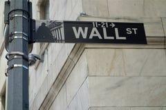 Wall Street tecken Arkivfoton