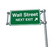 Wall Street traffic sign. Representing the concept of the stock market exchange and financial business Stock Photos
