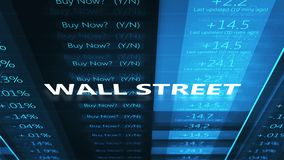 Wall Street-Typografie über Film- blauem Börse-Börsentelegrafen stock video