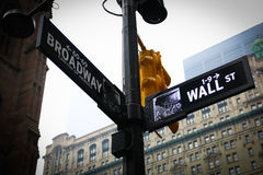 Wall Street und Broadway-Straßenschild New York Stockfotografie