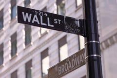 Wall Street und Hauptstraße Lizenzfreie Stockfotos
