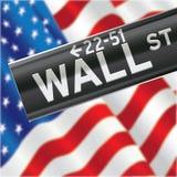 Wall Street und US-Flagge Stockbild