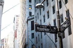 Wall Street undertecknar in den Manhattan staden, New York Arkivfoto