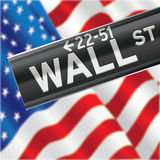 Wall Street and US Flag Stock Image