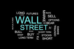 Wall street words in a financial concepts background. A wall street words in a financial concepts background Stock Photo