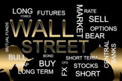 Wall street words in a financial concepts background. A wall street words in a financial concepts background Stock Images