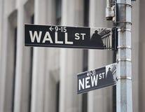 Wall Street Zeichen Stockfoto