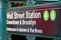 Wall Streetgångtunnelstation, New York Arkivfoton