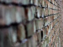 The wall stretches down perspective background. Wall moving away perspective background as bricks angle nail look the closer the farther the Wallpaper substrate Royalty Free Stock Photo