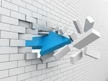 Wall. Strong arrow is breaking wall. 3D rendering Royalty Free Stock Photography