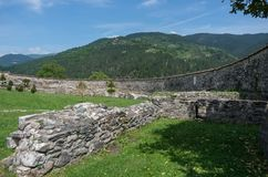 Wall of Studenica monastery, 12th-century Serbian orthodox monastery located near city of Kraljevo stock images