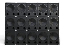 Wall of subwoofer speakers Royalty Free Stock Photo