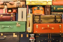Wall of Suitcases Puzzle. Wall decorated with a puzzle of suitcases. This is at Ezeiza airport, Buenos Aires, Argentina Stock Images