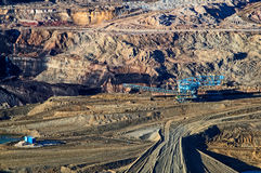 The wall surface mine, the giant mining machine Royalty Free Stock Images