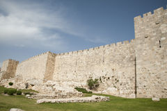 Wall surrounding Old City of Jerusalem Stock Photos