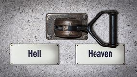 Wall Switch Heaven versus Hell. Wall Switch the Direction Way to Heaven versus Hell vector illustration