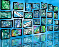 Wall of tablets Royalty Free Stock Images